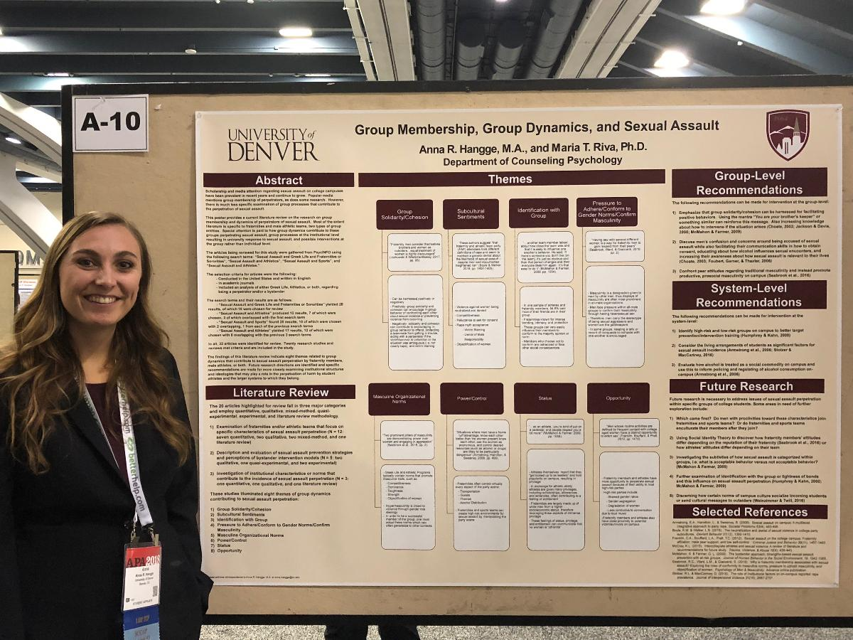 Doctoral student Anna Hangge presenting at the 2018 APA Convention in San Francisco