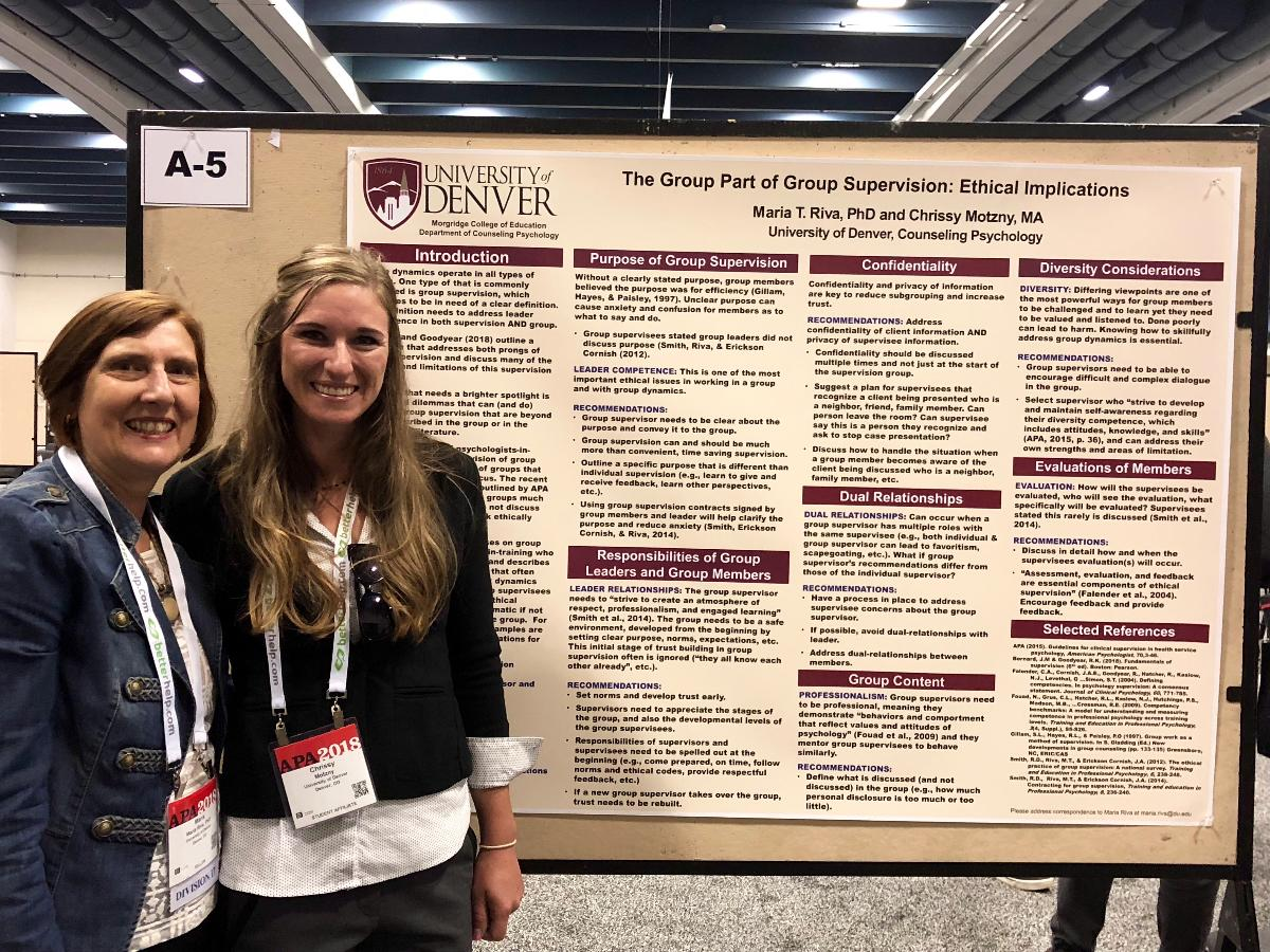 Dr. Riva and doctoral student Chrissy Motzny presenting at APA 2018