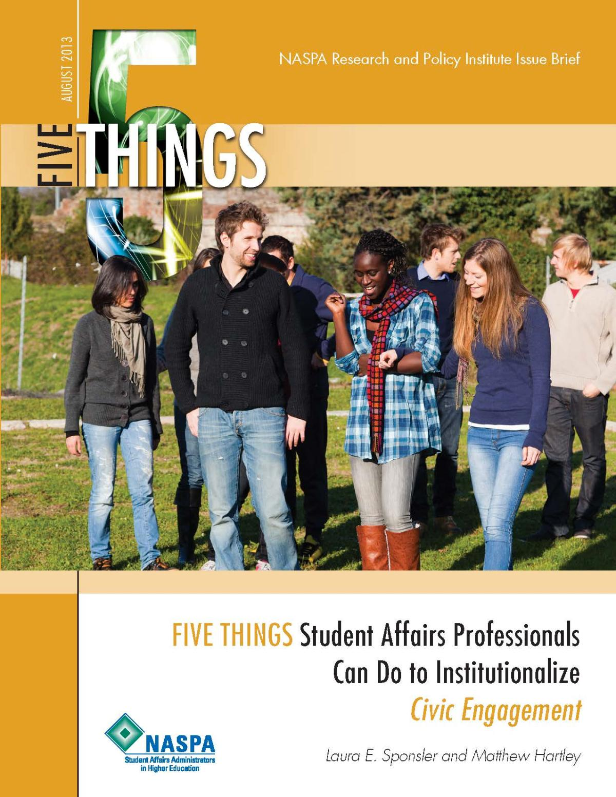 Five Things Student Affairs Professionals Can Do To Institutionalize Civic Engagement