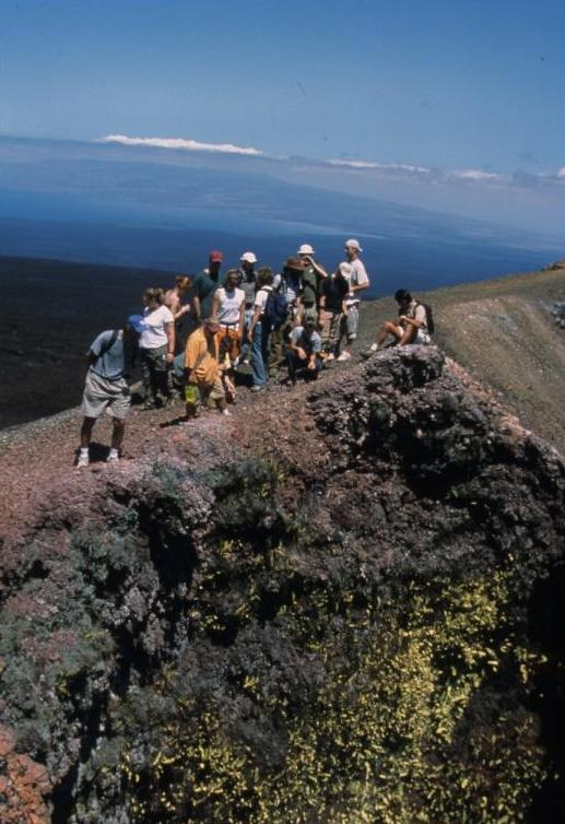 With Students in the Galapagos Islands, December 2002 (I'm peering into the abyss). Photo courtesy Mike Monahan, Department of Biological Sciences.