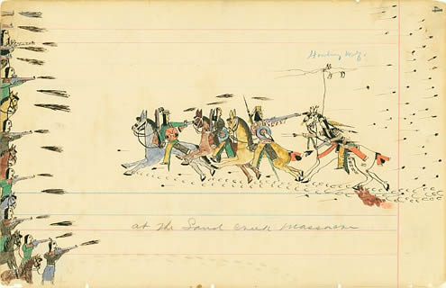 At the Sand Creek Massacre (Howling Wolf, 1875, Wikipedia)