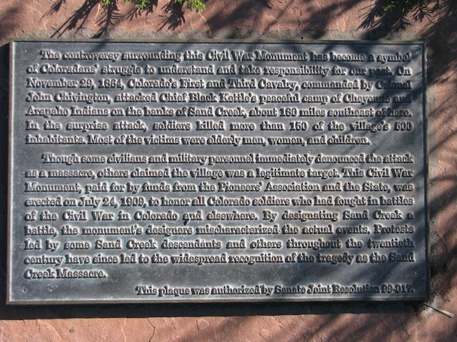 Civil War Monument, Sand Creek Plaque Text (D. Saitta)